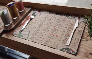 Podkładki papierowe z menu